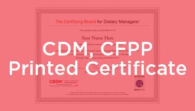 CDM, CFPP Printed Certificate